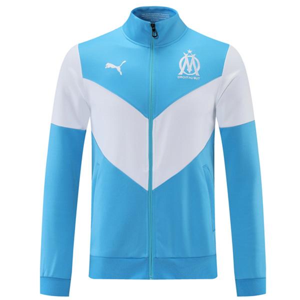 Olympique de Marseille giacca calcio abbigliamento sportivo tuta cerniera completa maglia allenamento atletico outdoor calcio cappotto blu bianco 2021-2022