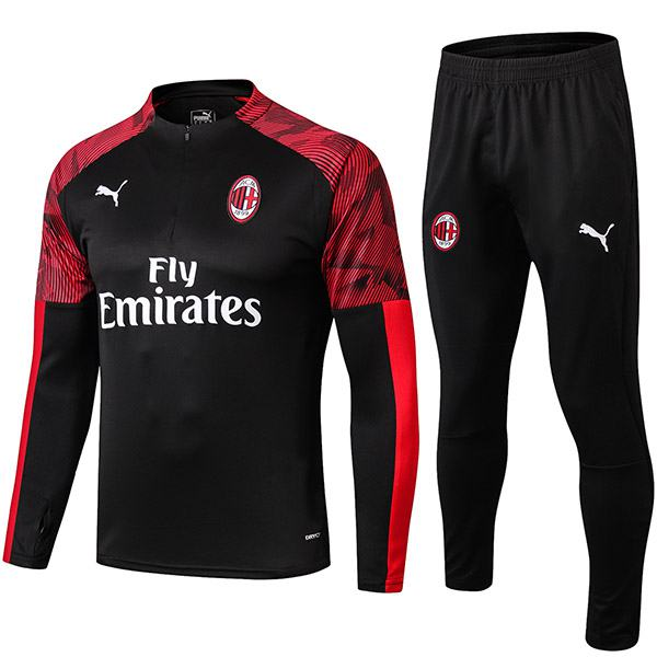 AC Milan Tracksuit Soccer Pants Suit Sports Set Necked Cleats Men's Clothes Football Training Jersey Black 2019