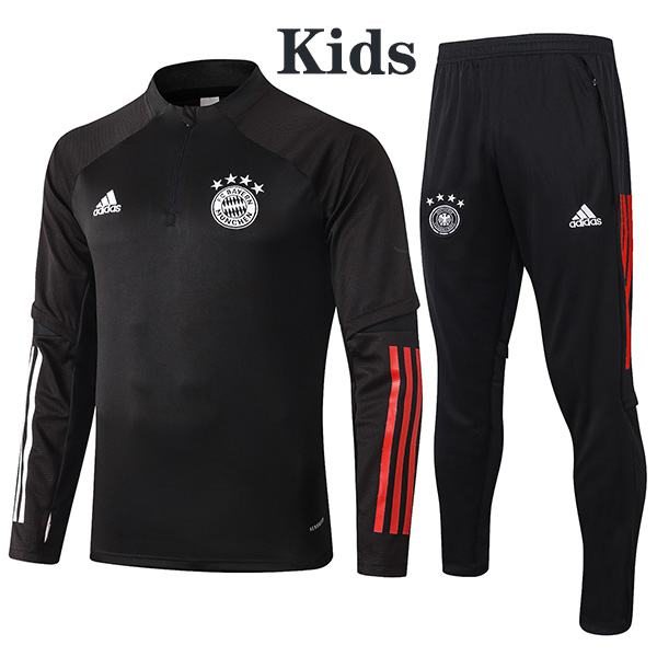 Bayern Munich Tracksuit Kids Kit Soccer Pants Suit Sports Set Necked Cleats Youth Clothes Children Football Black Training Jersey 2020-2021