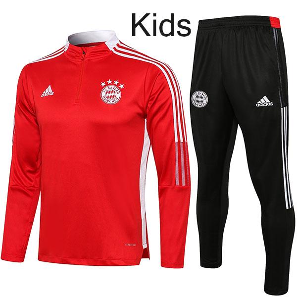 Bayern Monaco tuta bambini kit calcio pantaloni tuta sportiva set cerniera collo tacchetti vestiti giovanili calcio bambini rosso mini maglia da allenamento 2021-2022