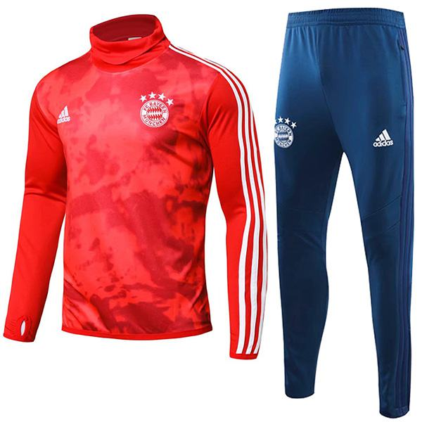 Bayern Munich Tracksuit Soccer Pants Suit Sports Set Necked Cleats Men's Clothes Football Training Jersey Red 2019-2020