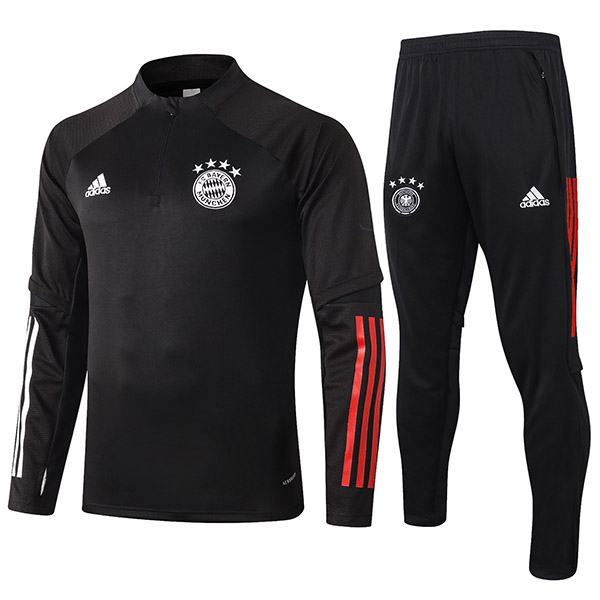 Bayern Munich Tracksuits Soccer Pants Suit Sports Set Necked Cleats Men's Clothes Football Training Jersey Black 2020-2021