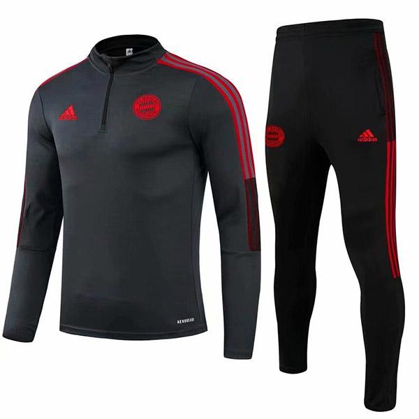 Bayern monaco tute pantaloni da calcio tuta sportiva set zip collo tacchetti abbigliamento uomo maglia allenamento calcio nero 2021-2022