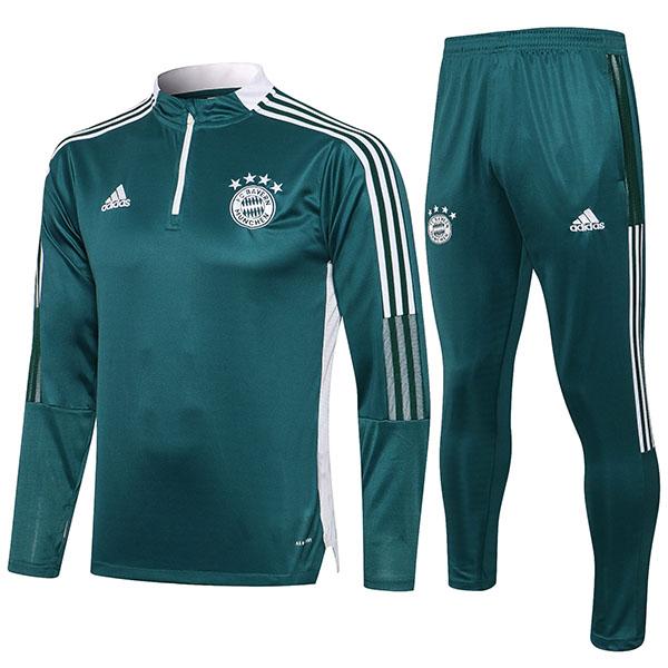 Bayern Monaco tute da calcio pantaloni da calcio tuta sportiva set zip collo tacchetti abbigliamento uomo maglia allenamento calcio verde scuro 2021-2022
