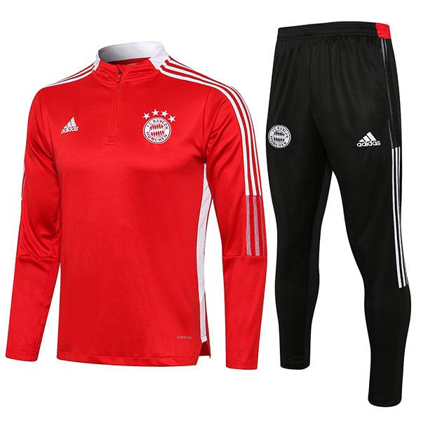 Bayern monaco tute pantaloni da calcio tuta sportiva zip collo tacchetti abbigliamento uomo maglia allenamento calcio rosso 2021-2022