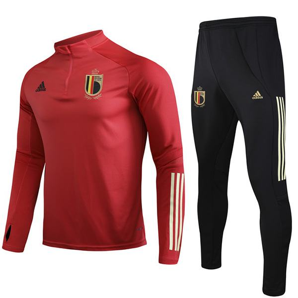 Belgium Tracksuit Soccer Pants Suit Sports Set Necked Cleats Men's Clothes Football Training Jersey Red EURO 2020