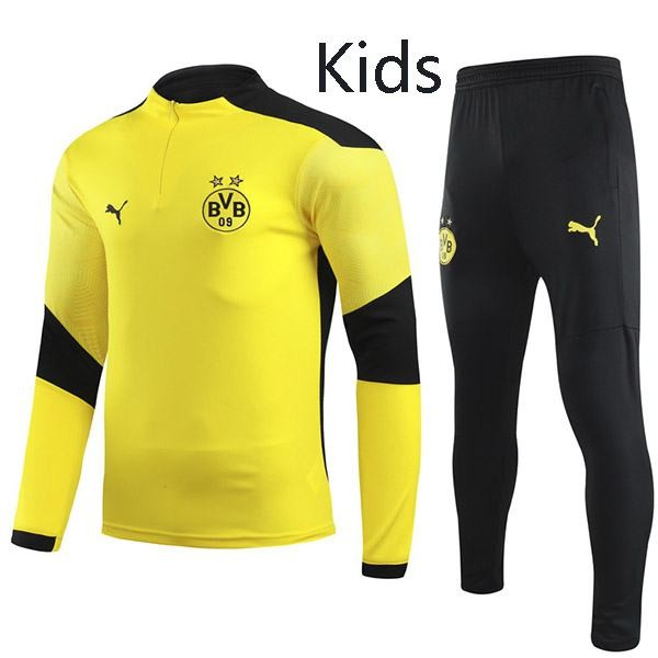 Borussia Dortmund Tracksuit Kids Kit Soccer Pants Suit Sports Set Hight Necked Cleats Youth Clothes Children Football Training Jersey Yellow 2020-2021