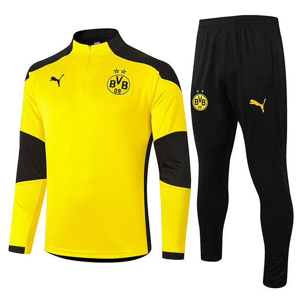 Borussia Dortmund Tracksuits Soccer Pants Suit Sports Set Necked Cleats Men's Clothes Football Training Jersey Yellow 2020-2021
