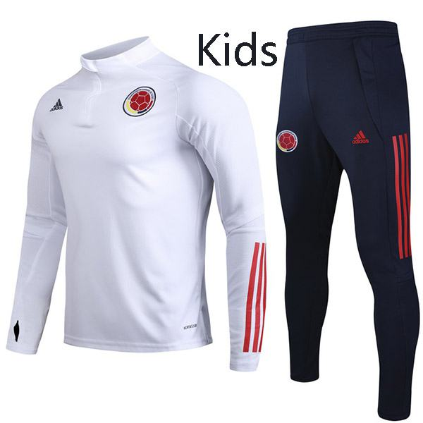 Colombia Tracksuit Kids Kit Soccer Pants Suit Sports Set Hight Necked Cleats Youth Clothes Children Football Training Jersey White; 2020