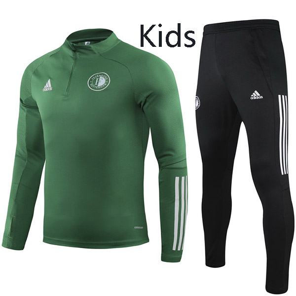 Feyenoord Tracksuit Kids Kit Soccer Pants Suit Sports Set Hight Necked Cleats Youth Clothes Children Football Training Jersey Green 2020-2021