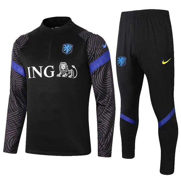 Netherlands Tracksuit Kids Kit Soccer Pants Suit Sports Set Holland Hight Necked Cleats Youth Clothes Children Football Training Jersey Black 2020-2021