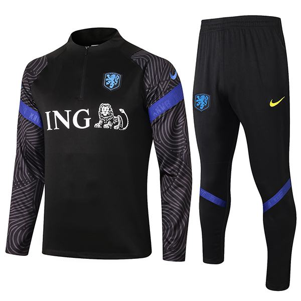 Netherlands Tracksuits Soccer Pants Suit Sports Set Necked Cleats Holland Men's Clothes Football Training Jersey Black 2020-2021