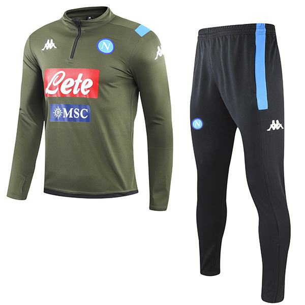 SSC Napoli Tracksuits Soccer Pants Suit Sports Set Necked Cleats Men's Clothes Football Green Training Jersey 2020-2021