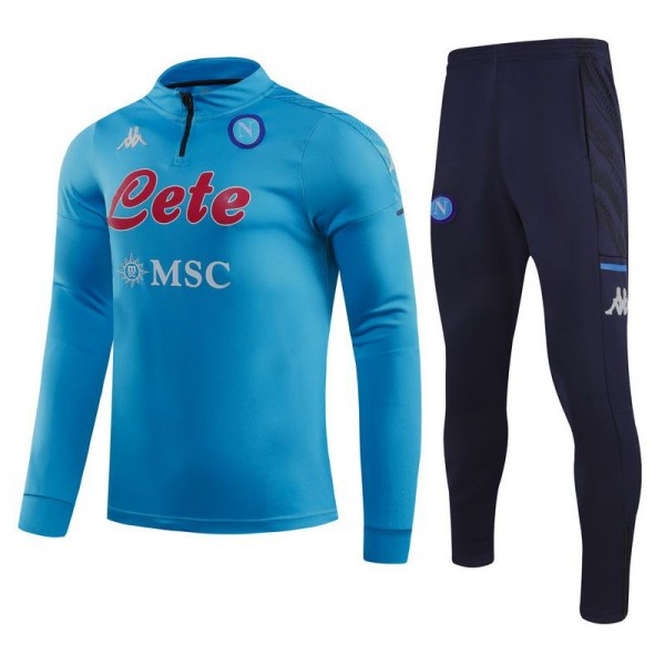 SSC Napoli Tracksuits Soccer Pants Suit Sports Set Necked Cleats Men's Clothes Football Training Jersey Blue 2020-2021