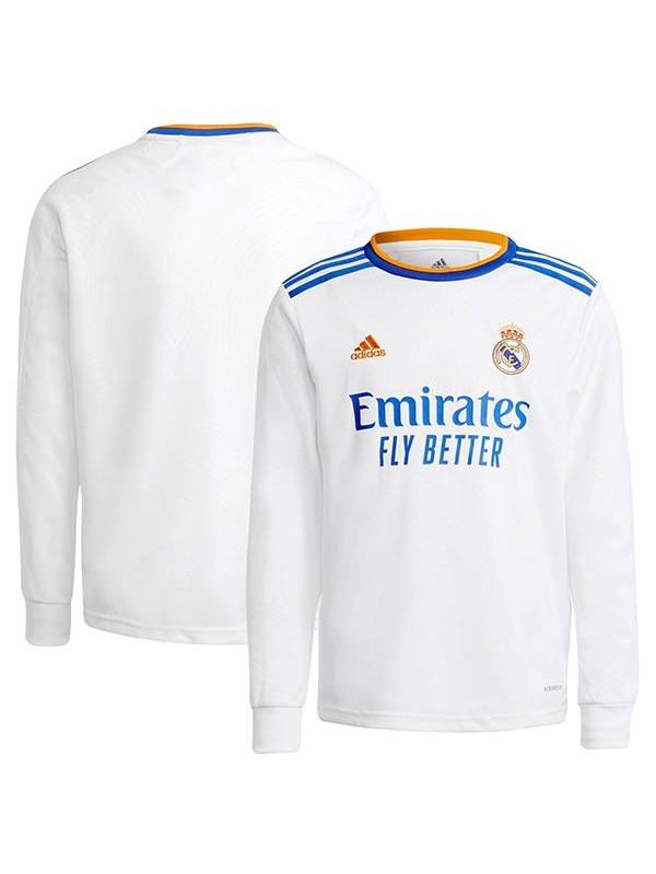 Real madrid maglia a maniche lunghe casalinga del t-shirt sportiva da calcio seconda maglia da uomo del kit da calcio sportivo 2021-2022