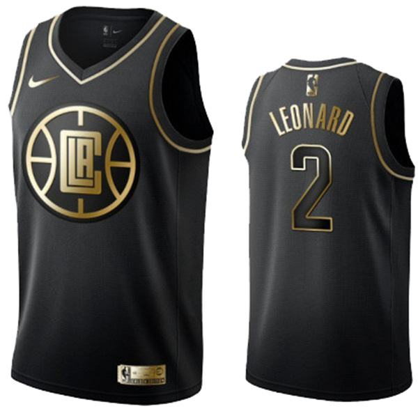 2019 All Star Game Los Angeles Clippers 2 Kawhi Leonard Black Golden Basketball Edition Jersey