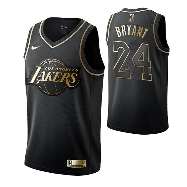 2019 All Star Game Los Angeles Lakers Kobe Bryant 24 Black Gold Basketball Jersey