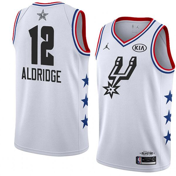 2019 All Star Game Men's Spurs 12 Aldridge Jordan Brand White NBA Swingman Jersey