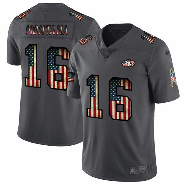 Men's american national football nfl montana 49ers 16 black flag super bowl limited edition jersey 2020