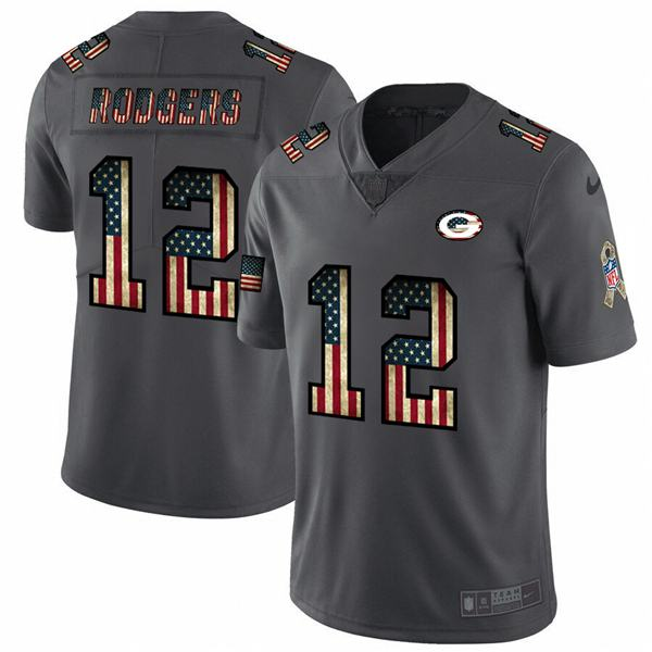 Men's nfl american national football aaron rodgers packers 12 black flag super bowl limited edition jersey 2020