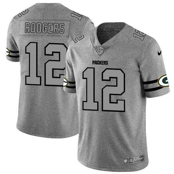Men's nfl american national football aaron rodgers packers 12 gray super bowl limited edition jersey 2020