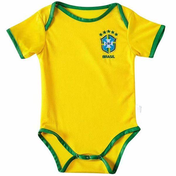 Brazil home baby onesie soccer kids jersey 2020