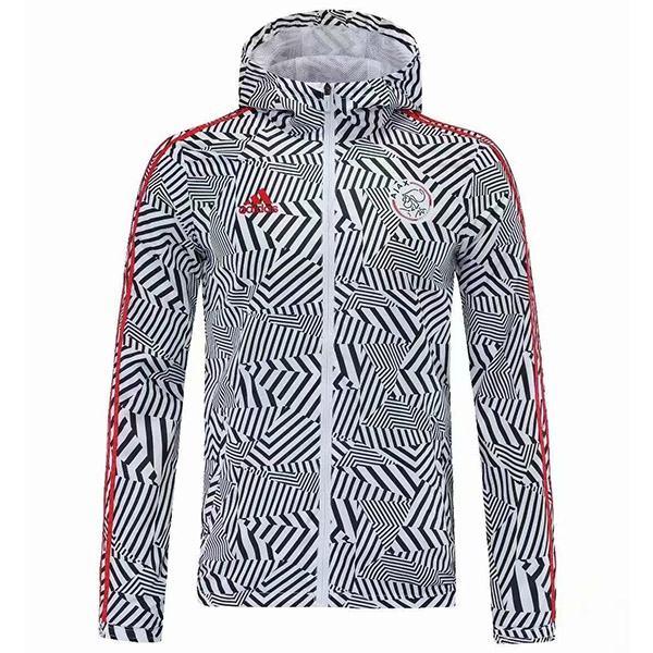 Ajax Giacca a vento con cappuccio Giacca sportiva da calcio Tuta intera con cerniera Kit da allenamento da uomo Athletic Outdoor Zebra Soccer Coat 2021