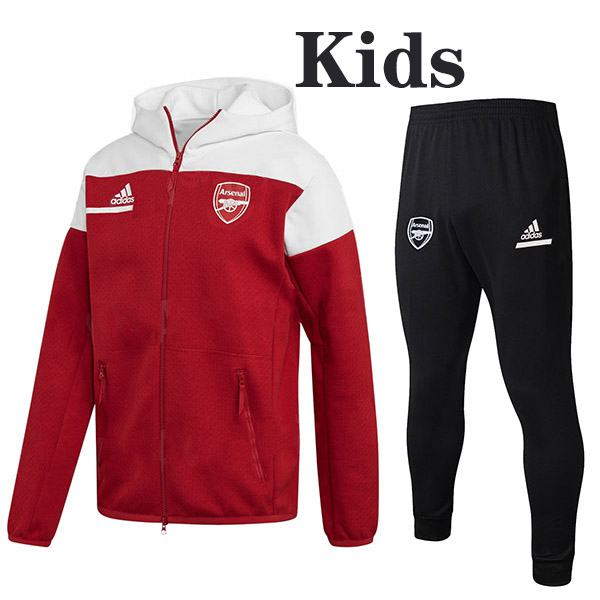 Arsenal Hoodie Jacket Suit Tracksuit Kids Kit Soccer Pants Suit Sports Set Necked Cleats Youth Clothes Children Football Training Jersey Red White 2020-2021