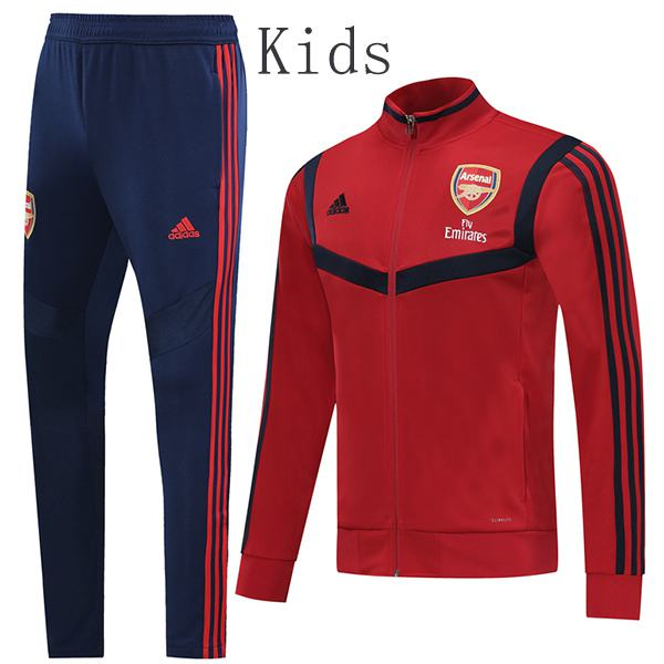 Arsenal Jacket Suit Tracksuit Kids Kit Soccer Pants Suit Sports Set Hight Necked Cleats Youth Clothes Children Football Training Jersey Red 2019-2020