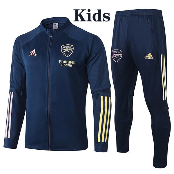 Arsenal Jacket Suit Tracksuit Kids Kit Soccer Pants Suit Sports Set Hight Necked Cleats Youth Clothes Navy Children Football Training Jersey 2020-2021