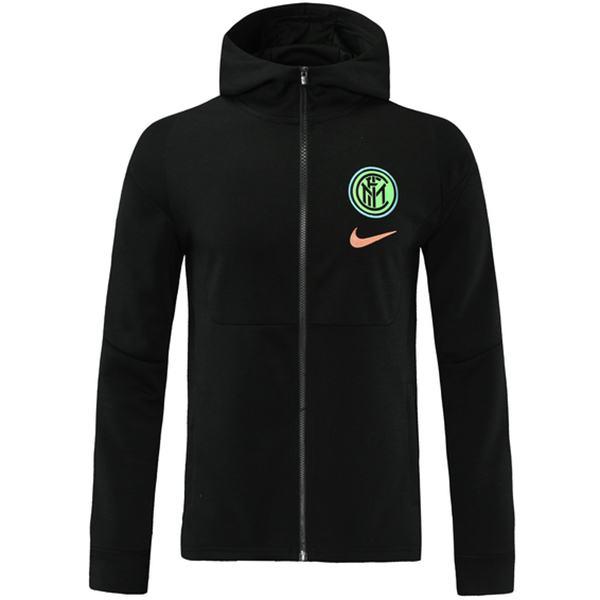 Inter Milan coupe-vent veste à capuche Football Sportswear Survêtement Full Zipper Kit de formation pour hommes athlétique extérieur manteau de football noir 2021