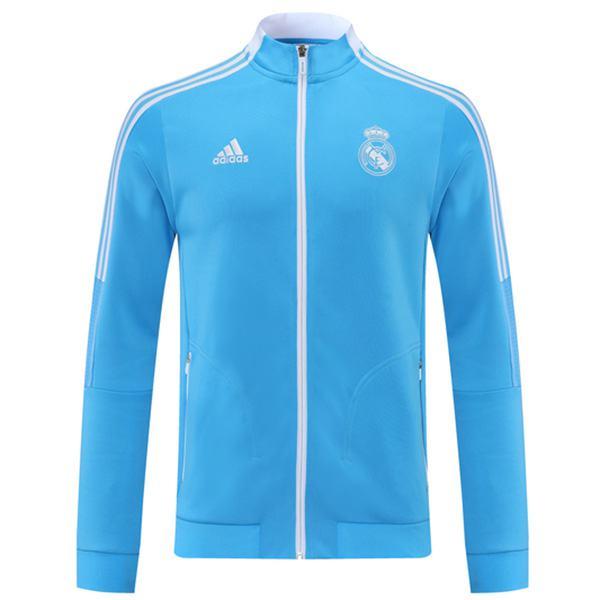 Giacca Real Madrid Tuta sportiva da calcio Tuta intera Cerniera collo alto Maglia da allenamento da uomo Cappotto da calcio per esterno atletico Blu 2021-2022