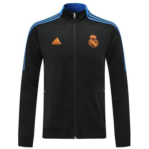 Giacca Real Madrid Tuta sportiva da calcio Tuta da allenamento con cerniera completa Maglia da allenamento per atletica all'aperto Nero 2021-2022