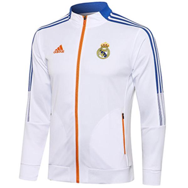 Giacca Real Madrid Tuta sportiva da calcio Tuta da allenamento con cerniera completa Maglia da allenamento per atletica all'aperto Bianco 2021-2022