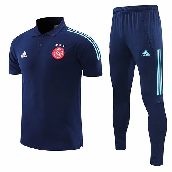 Ajax polo maglia da allenamento t-shirt da calcio sportiva da uomo teal match di calcio blu 2021