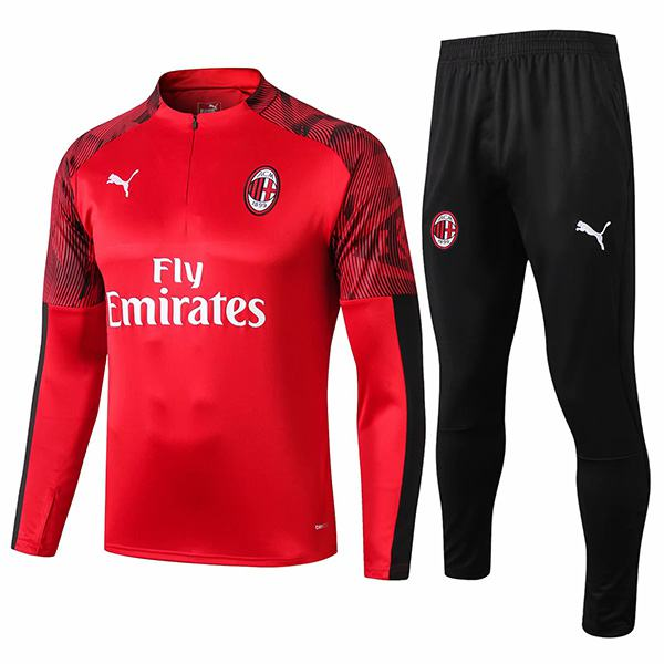 AC Milan Tracksuit Soccer Pants Suit Sports Set Necked Cleats Men's Clothes Football Training Jersey Red 2019/2020