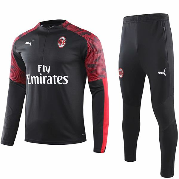 AC Milan Tracksuits Soccer Pants Suit Sports Set Necked Cleats Men's Clothes Football Training Jersey Black Red 2019-2020