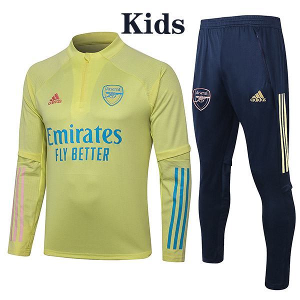 Arsenal Suit Tracksuit Kids Kit Soccer Pants Suit Sports Set Hight Necked Cleats Youth Clothes Children Football Training Jersey Yellow 2020-2021