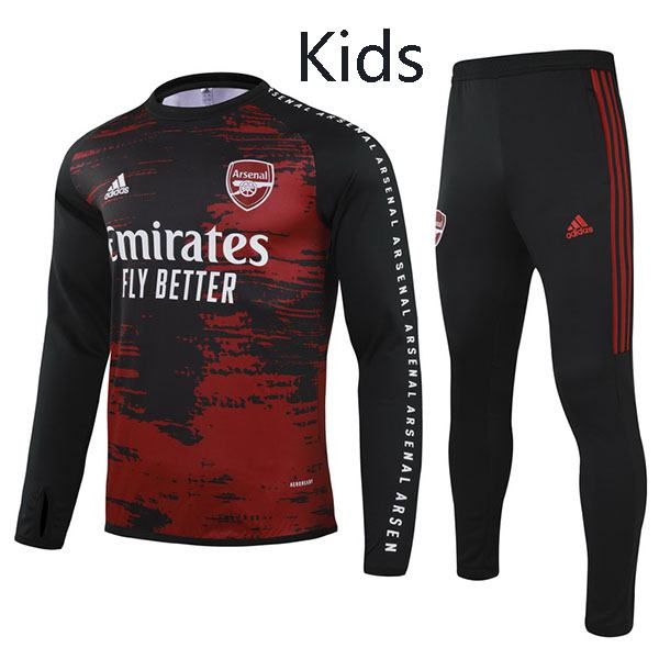 Arsenal Tracksuit Kids Kit Soccer Pants Suit Sports Set Hight Necked Cleats Youth Clothes Children Football Training Jersey Red Black 2020-2021