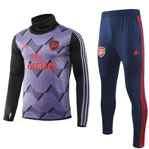 Arsenal Tracksuit Soccer Pants Suit Sports Set Hight Necked Cleats Men's Clothes Football Training Jersey Purple 2019-2020