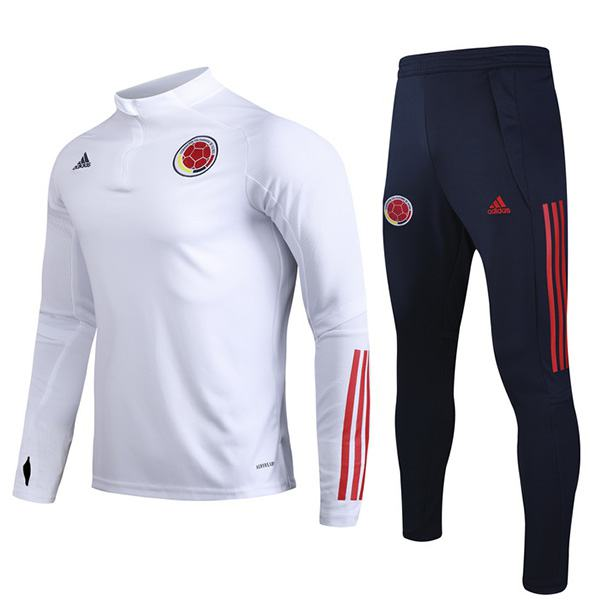 Colombia Tracksuit Soccer Pants Suit Sports Set Necked Cleats Men's Clothes Football Training Jersey White EURO 2020