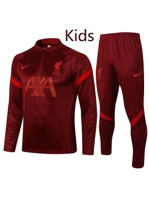 Liverpool tracksuit kids kit soccer pants suit sports set necked cleats youth clothes children football red training jersey 2021-2022